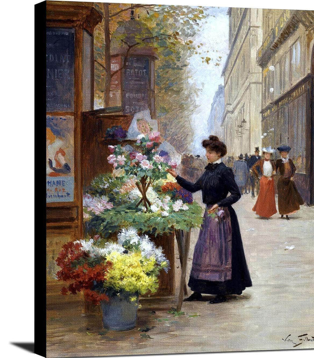 Flower Seller On Les Grands Boulevards, Paris Painting Victor Gilbert Canvas Art