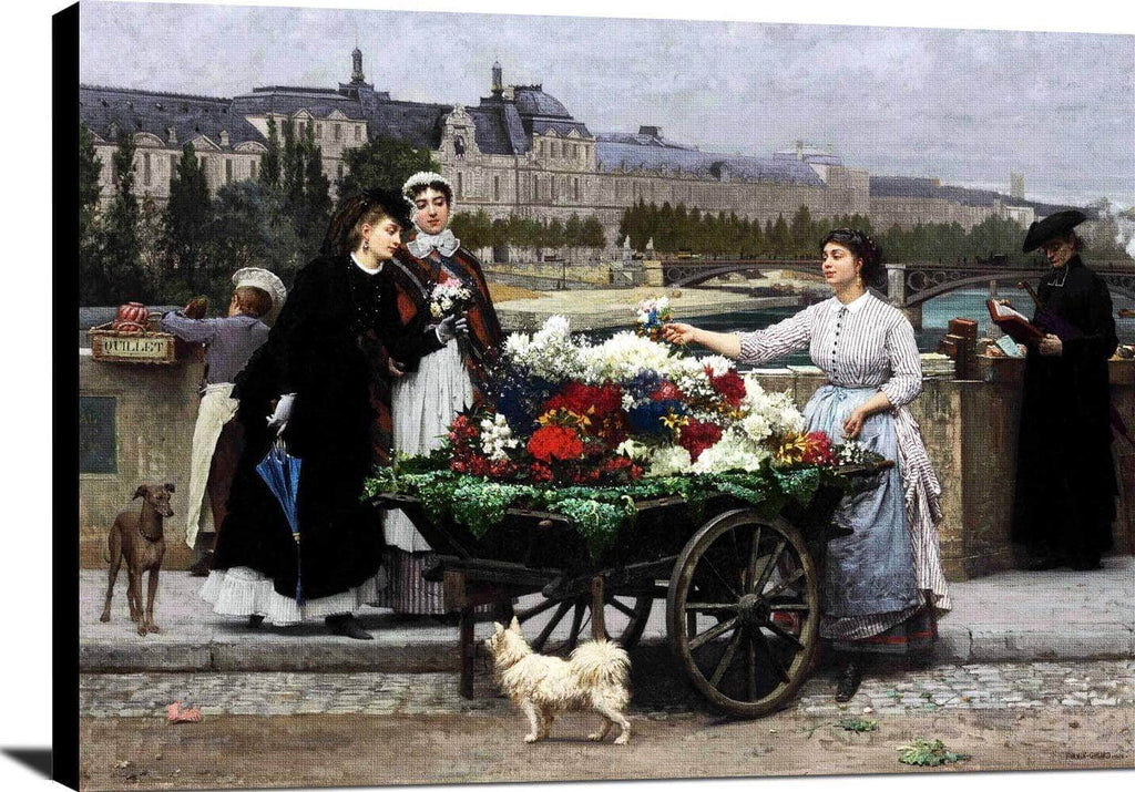 Flower Seller On The Pont Royal Paris Painting Firmin Girard Canvas Art