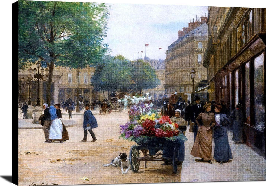 Flower Seller, Place De La Comedie Francaise Painting Victor Gilbert Canvas Art
