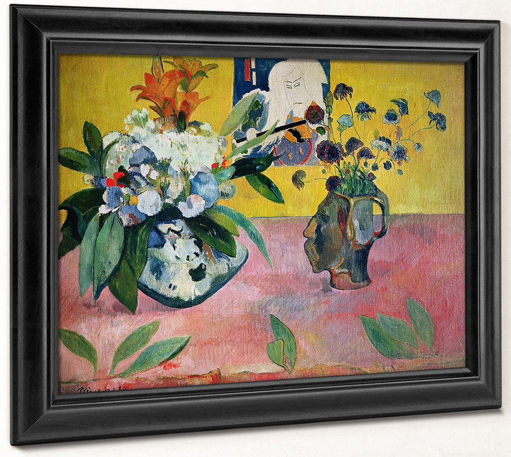 Flowers And A Japanese Print By Paul Gauguin
