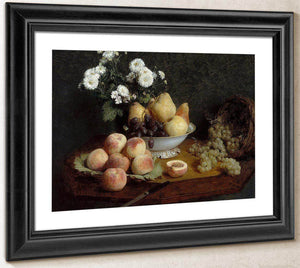 Flowers And Fruit On A Table By Henri Fantin Latour