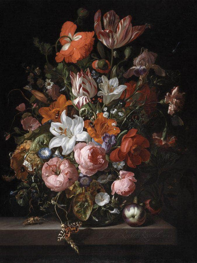 Flowers In A Glass Vase By Rachel Ruysch