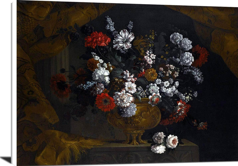 Flowers In A Guilt Urn On A Stone Ledge Painting Pieter Casteels Iii Canvas Art