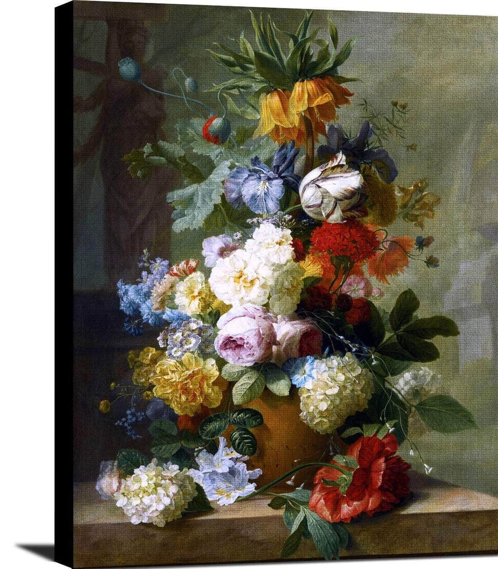 Flowers In A Vase On A Marble Ledge Painting Jan Van Huysum Canvas Art