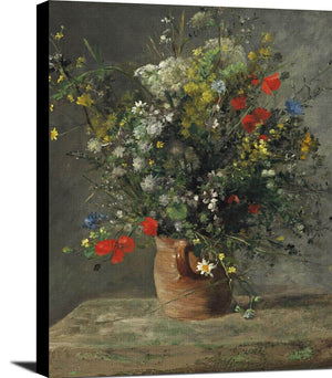 Flowers In A Vase Painting Auguste Renoir Canvas Art