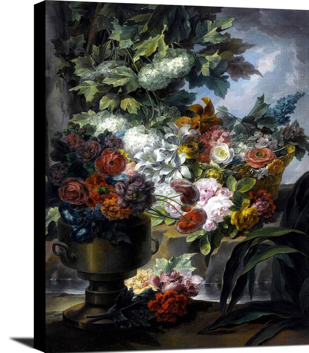Fountain, An Urn And A Basket Of Flowers Painting Miguel Parra Abril Canvas Art
