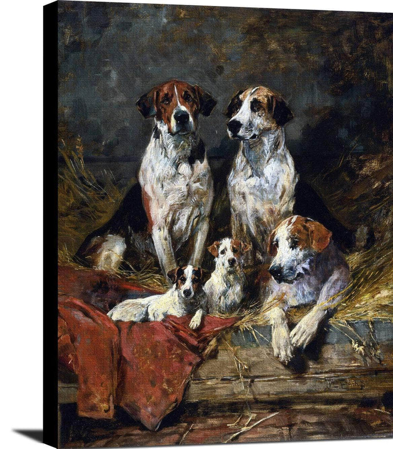 Four Foxhounds And A Terrier John Emms Canvas Art