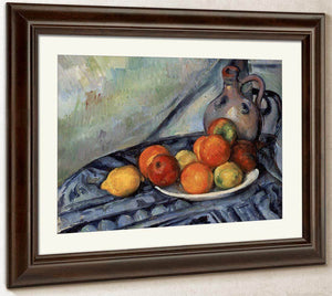 Fruit And A Jug On A Table By Cezanne Paul