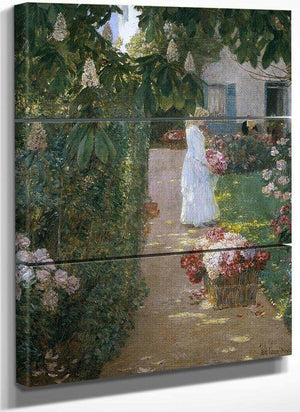 Gathering Flowers In A French Garden By Childe Hassam