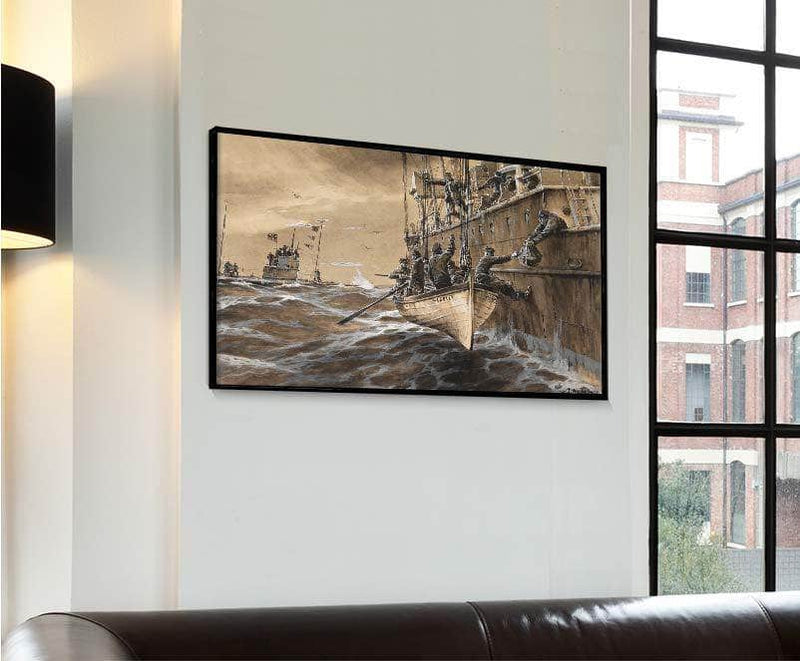 German Submarine British Falle Headley Painting Willy Stower Canvas Art