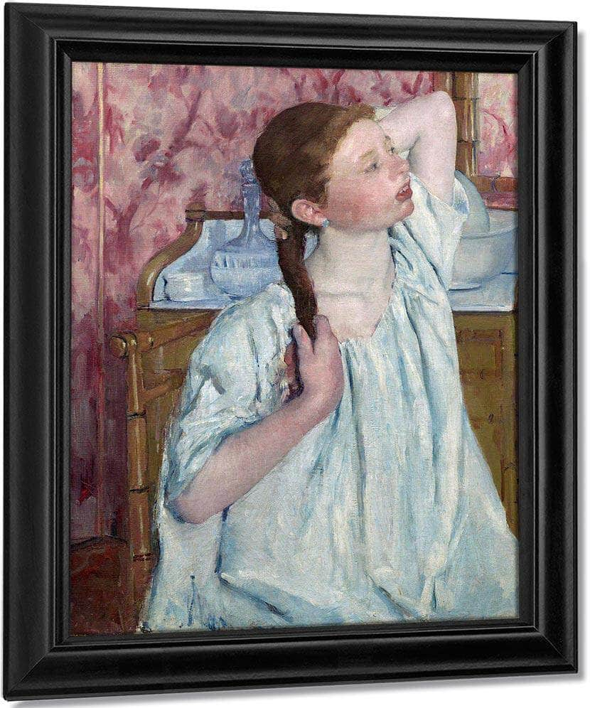 Girl Arranging Her Hair By Cassatt Mary