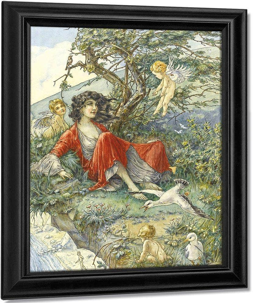 Girl In A Red Dress On A Cliff By William Henry Walker