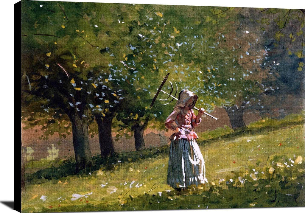 Girl With Hay Rake Painting Winslow Homer Canvas Art