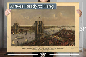 Grand Birds Eye View Of The Great East River Suspension Bridge Connecting The Cities Of New York & Brooklyn Showing Also The Splendid Panorama Of The Bay And Part Of New York Vintage Map