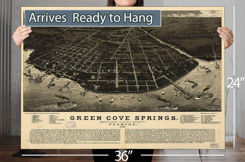 Green Cove Springs County Seat Of Clay County Florida 1885 Vintage Map