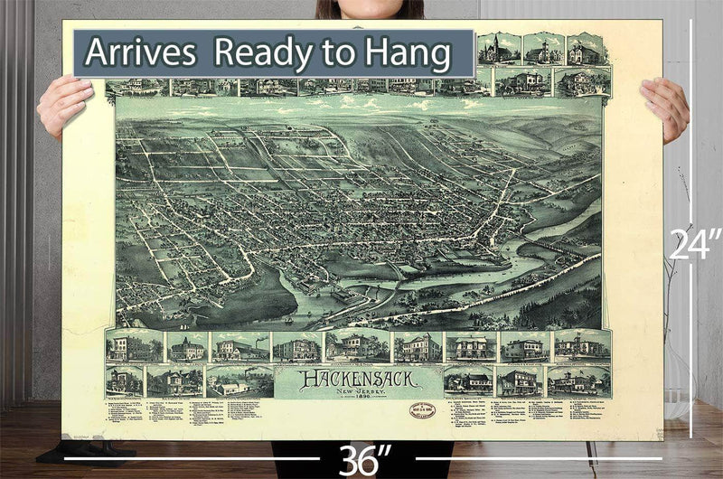 Hackensack New Jersey Vintage Map