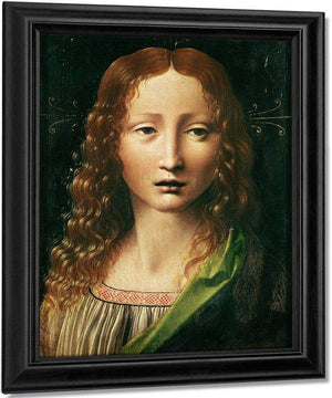 Head Of The Saviour (Oil On Panel) By Leonardo Da Vinci