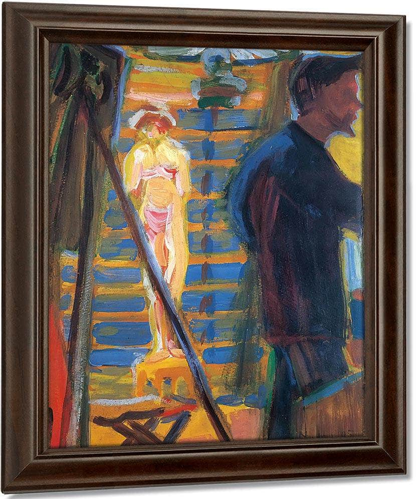 Heckel And Model In Studio By Ernst Ludwig Kirchner