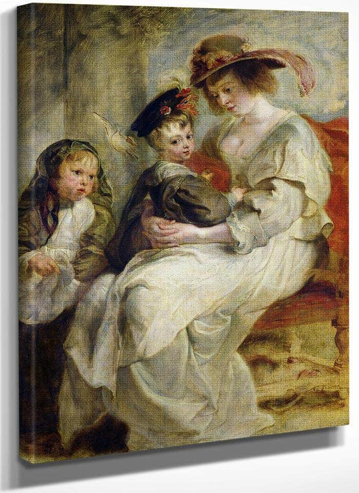 Helene Fourment (1614 73) With Two Of Her Children Claire Jeanne And Francois By Peter Paul Rubens