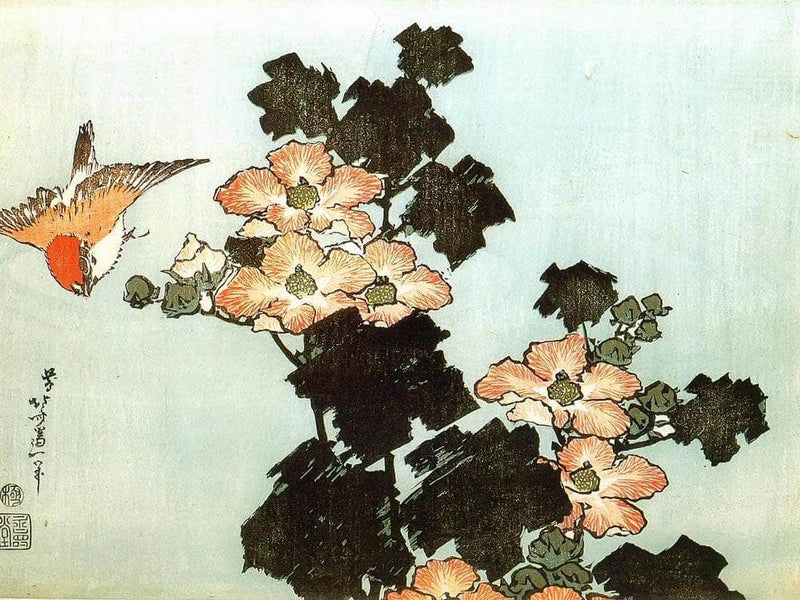 Hibiscus And Sparrow By Hokusai