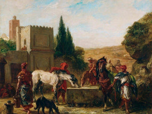Horses At A Fountain By Eugene Delacroix