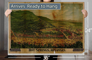 Hot Springs Arkansas Vintage Map