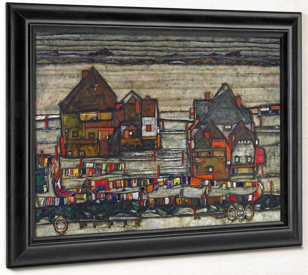 Houses With Laundry  Seeburg Ha User Mit Bunter Wa Sche 1914 Pc By Egon Schiele
