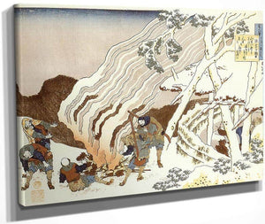 Hunters By A Fire In The Snow By Hokusai