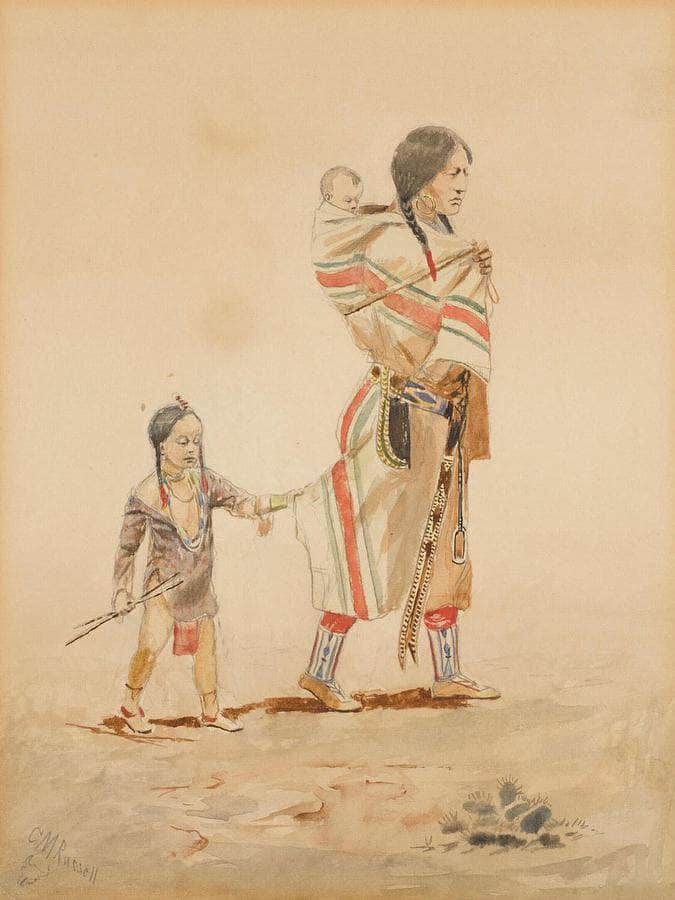 Indian Mother By Charles Marion Russell