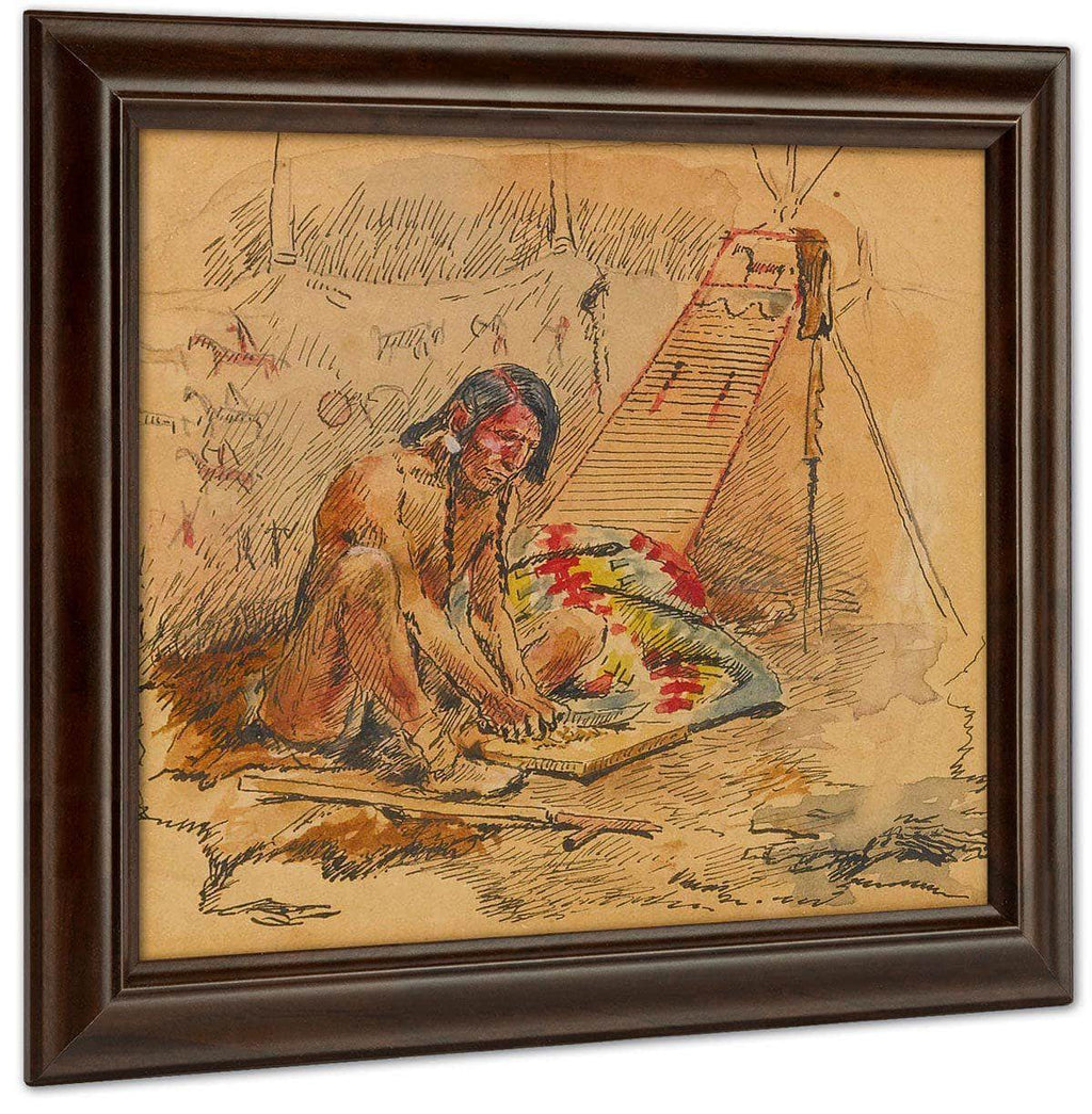 Indian Preparing A Pipe By Charles Marion Russell