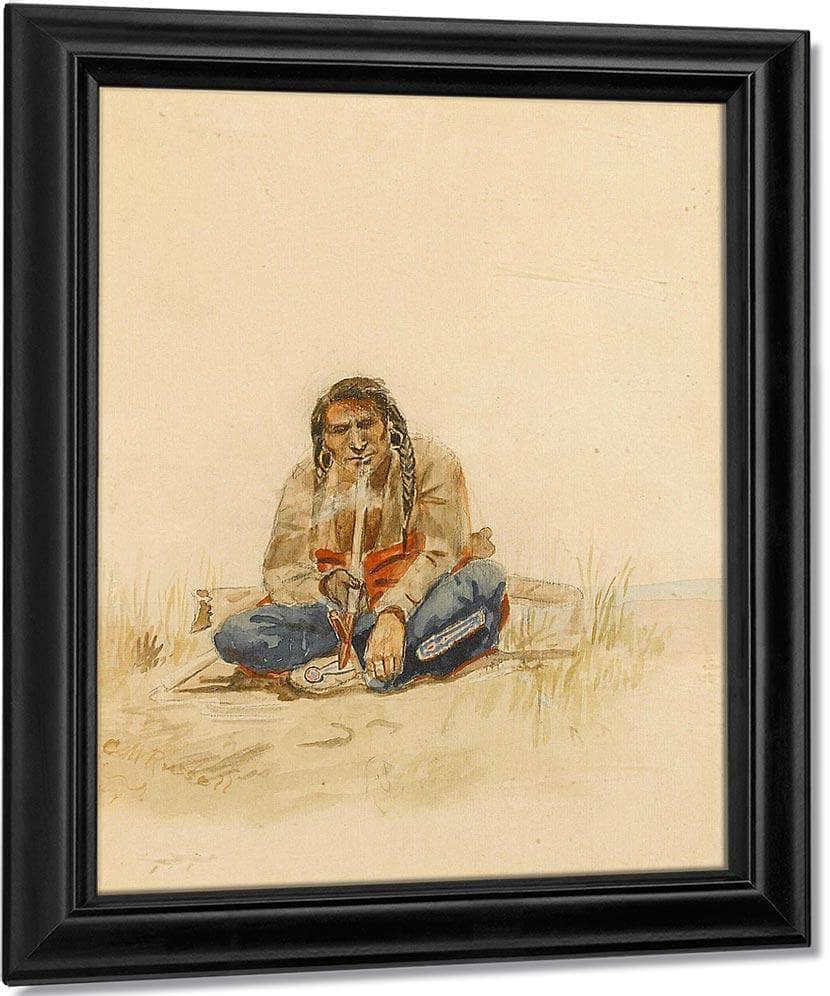 Indian Smoking Peace Pipe By Charles Marion Russell