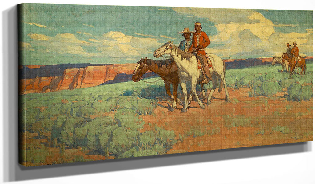 Indians On The Plains By  Edgar Payne