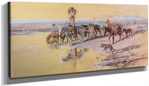 Indians Traveling On Travois By Charles Marion Russell