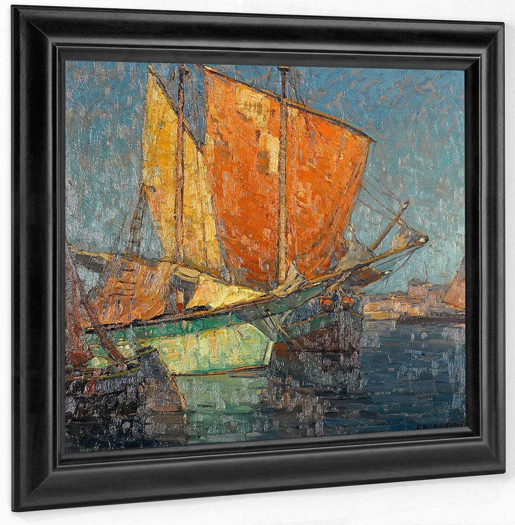 Italian Fishing Boats In A Harbor By Edgar Payne