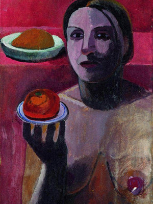 Italian Woman With A Plate In Her Raised Hand 1906 By Paula Modersohn Becker