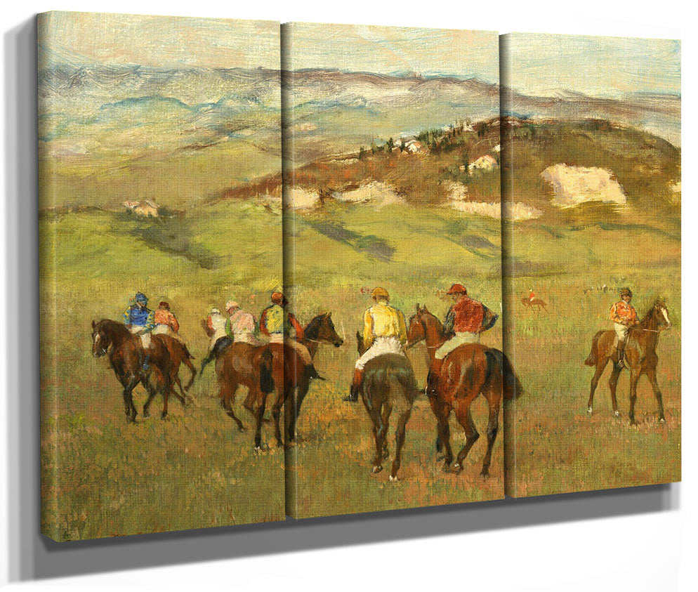 Jockeys On Horseback Before Distant Hills By Edgar Degas