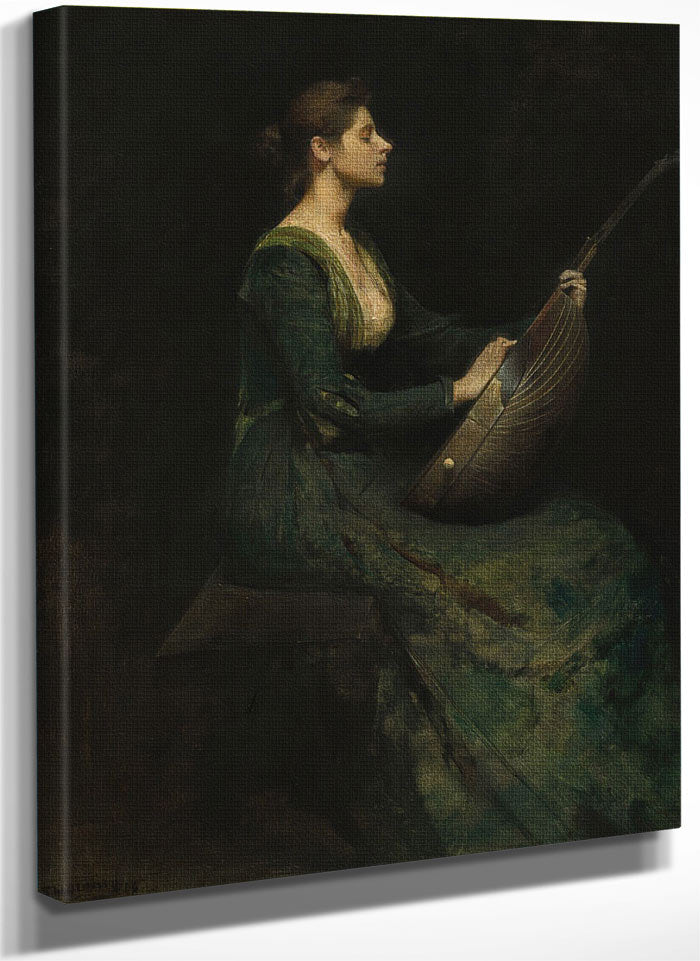 Lady With A Lute By Thomas Wilmer Dewing