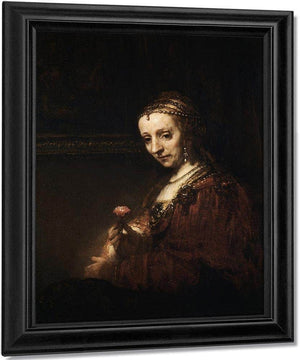 Lady With A Pink By Rembrandt