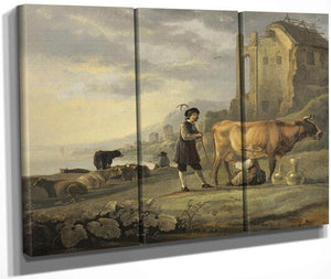 Landscape With Maid Milking A Cow By Aelbert Cuyp