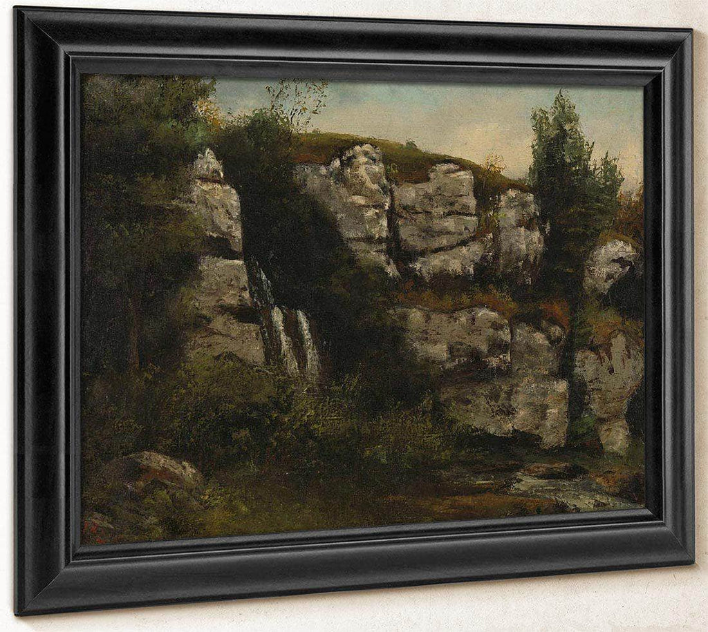 Landscape With Rocky Cliffs And A Waterfall By Gusave Courbet