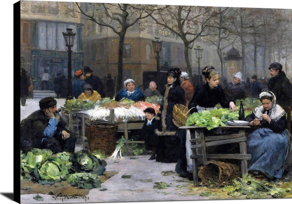 Le Marche Aux Legumes, Paris Painting Victor Gilbert Canvas Art