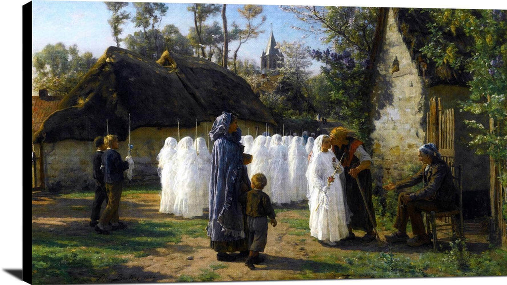 Les Communiants Painting Jules Breton Canvas Art