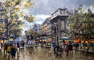 Les Grands Boulevards Porte St. Martin Painting Blanchard Canvas Art