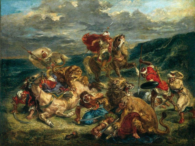 Lion Hunt By Eugene Delacroix