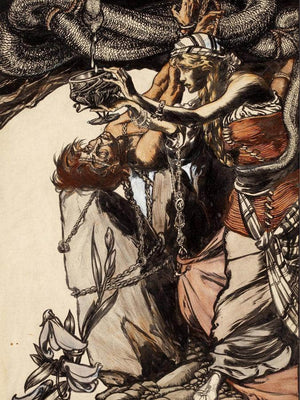Loki And Sigyn The Land Of Enchantment Book Illustration 1901 By Arthur Rackham