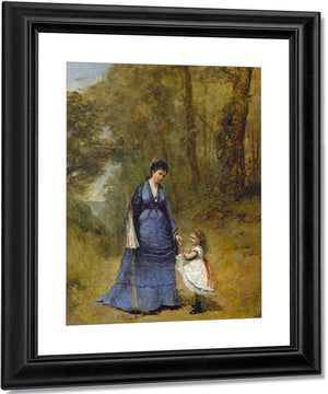 Madame Stumpf And Her Daughter Jean Baptiste By Camille Corot