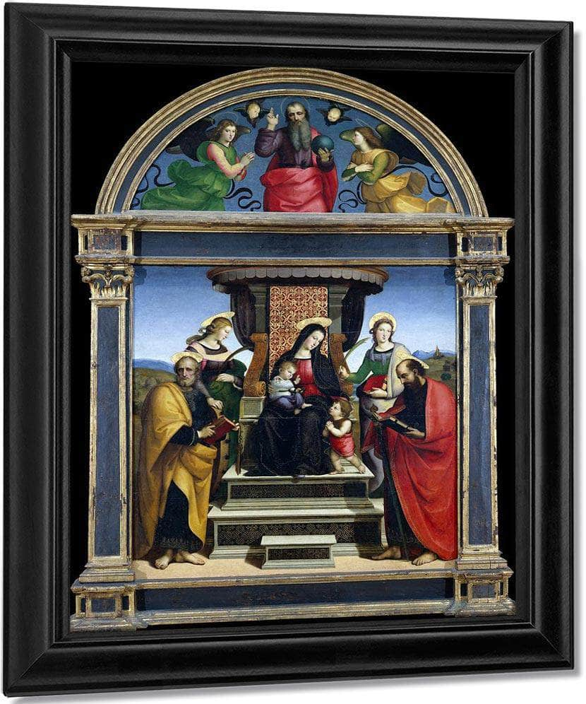 Madonna And Child Enthroned With Saints By Raphael