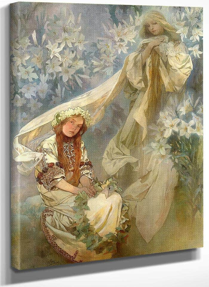 Madonna Of The Lilies By Alphonse Mucha
