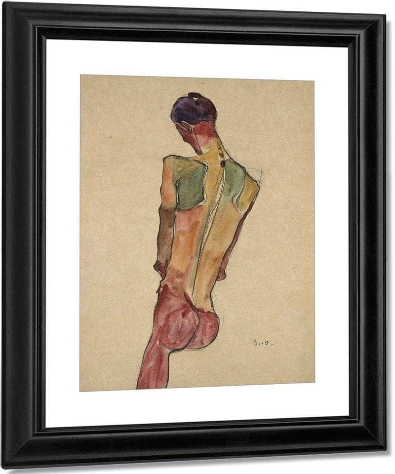 Male Nude Back View By Egon Schiele