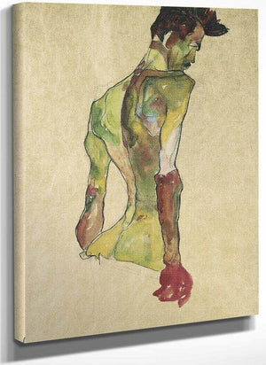 Male Nude In Profile Facing Right By Egon Schiele